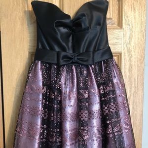 Satin black and sparkle pink short and sleeveless
